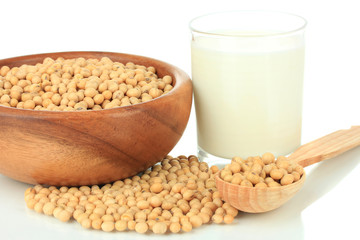 Soy beans with glass of milk isolated on white