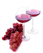 Wineglasses with red wine, grape isolated on white