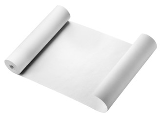 Roll of thermal fax paper, isolated on white