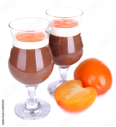 Dessert of chocolate and persimmon isolated on white