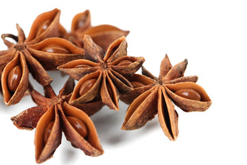 Star anise, isolated on white