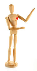 Wooden mannequin isolated on white