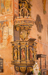 Stitink - Baroque pulpit from year 1693 with