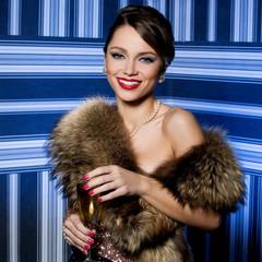 Beautiful girl with fur
