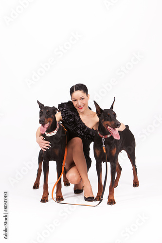 woman with doberman