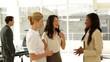 Businesswomen talking together