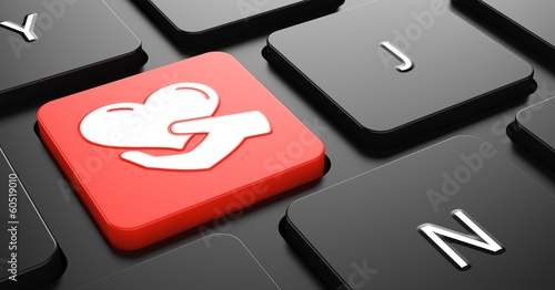 Icon of Heart in the Hand on Red Keyboard Button. - 60519010