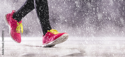 canvas print picture Woman running in winter