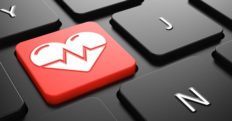 Heart with Cardiogram Line on Red Keyboard Button.