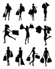 Set of woman shopping silhouettes