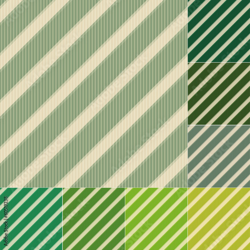 seamless green stripes background set