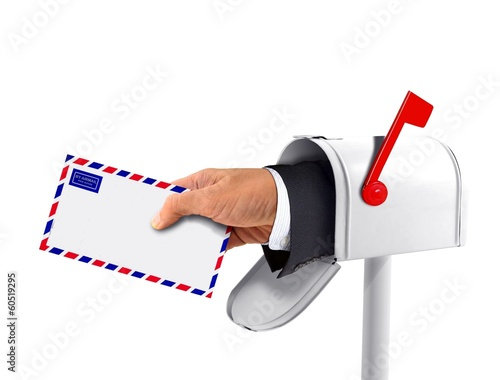 Mailbox and a Hand with an Envelope