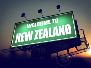 Billboard Welcome to New Zealand at Sunrise.