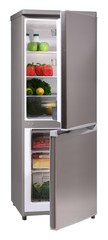 Open two door INOX refrigerator isolated on white