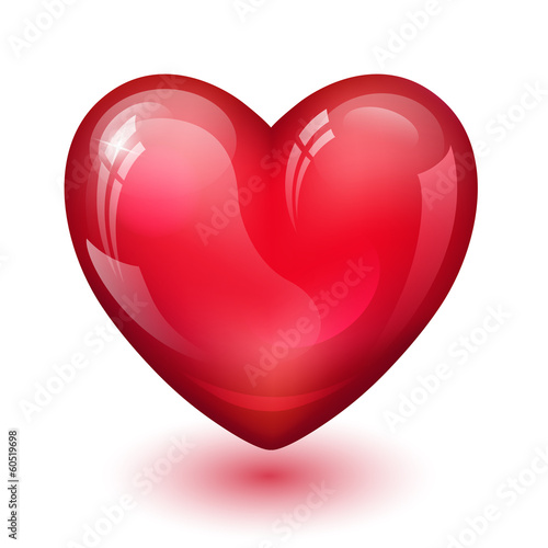 glossy red heart