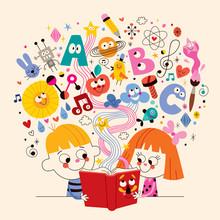 cute kids reading book education concept illustration
