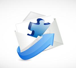 puzzle piece envelope illustration design