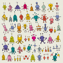 cute cartoon robots set