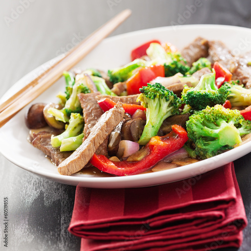 chinese stir fry with beef and vegetables