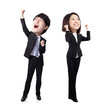 Excited business man and woman
