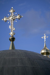 Gilded Christian crosses on dome of Caves Monastery in Kiev .