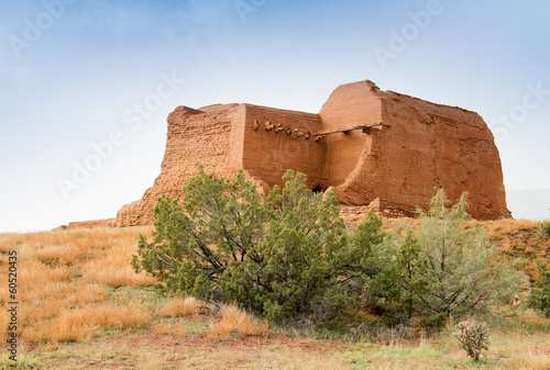 decaying ancient adobe mission