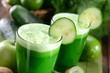Two glasses of green juice
