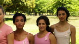 Diverse women wearing pink for breast cancer awareness
