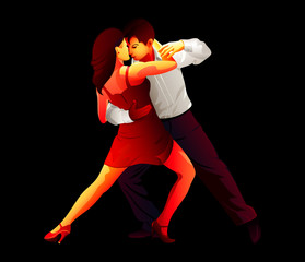Passionate young tango dancers isolated over black