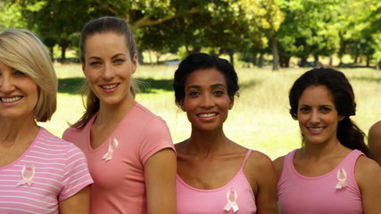Happy women wearing pink for breast cancer awareness in the park