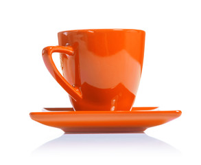 orange colored coffee cup isolated on white background
