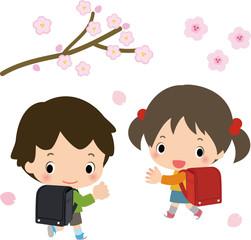 ランドセルを背負った子供たちと桜