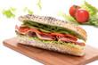 Ham and vegetable submarine sandwich