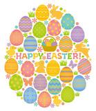 Fototapety HAPPY EASTER イースターエッグ 卵型