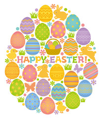 HAPPY EASTER イースターエッグ 卵型