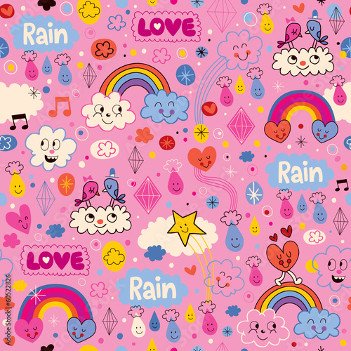 clouds rainbows birds rain love hearts cartoon pattern
