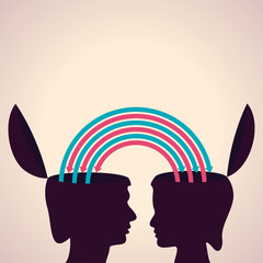 exchanging thoughts with each other stock vector
