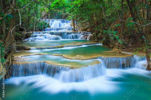Leinwandbild Motiv Deep forest Waterfall in Kanchanaburi, Thailand