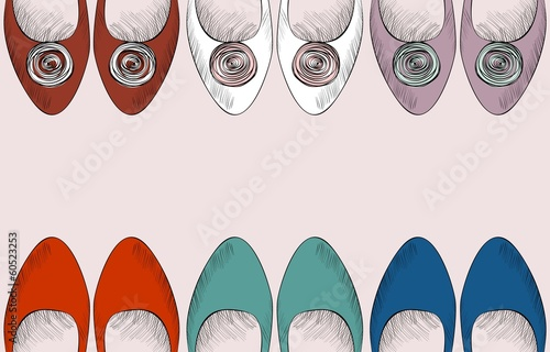 trendy fashion  shoes.  Fashionable Hand drawn illustration. - 60523253