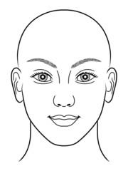 Schwarz-weiße Zeichnung eines Frauenportraits ohne Kopfhaar
