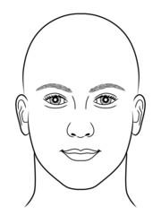 Schwarz-weiße Zeichnung eines Männerportraits ohne Kopfhaar