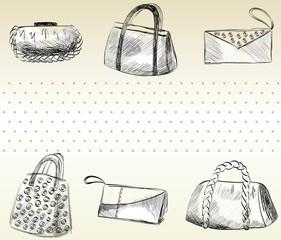 trendy fashion  handbags.  Fashionable Hand drawn illustration.