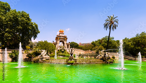 Cascada fountain in Barcelona in summer