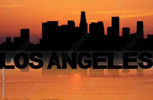 Los Angeles skyline reflected with text and sunset illustration