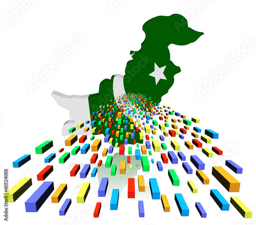 Pakistan map flag reflected with containers illustration