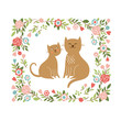 two cute cats in flowers frame