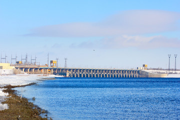 structure hydroelectric power station on the winter river
