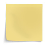 Yellow sticky note with turned up corner isolated