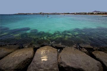 windsurf pier boat in the blue sky   arrecife teguise lanzarote