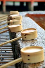 Dipping cups at Itsukushima Shrine (Miyajima Island), japan